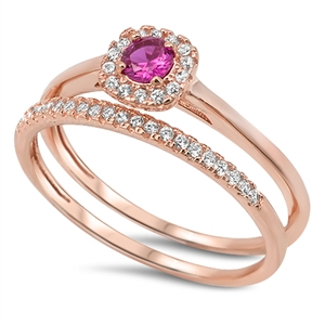 Sidney Imports Wholesale Rose Gold Tone Silver Ruby CZ Ring Set