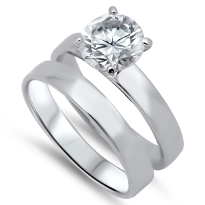 Sidney Imports Wholesale Silver Prong CZ Ring Set