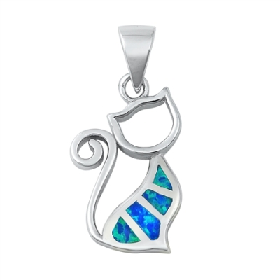 Sidney Imports Wholesale Silver Cat Lab Opal Pendant