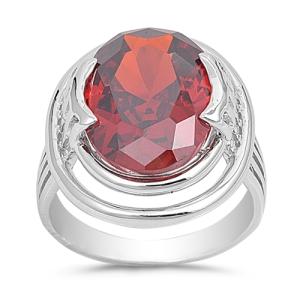 Sidney Imports Sterling Silver Garnet CZ Ring